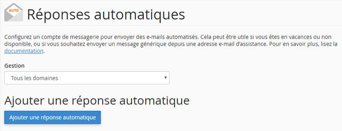 réponses-automatiques-cpanel